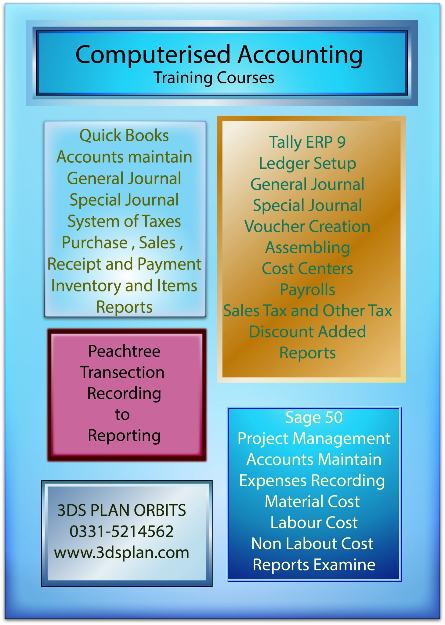 Peachtree,Quickbooks,Tally,Sage Course